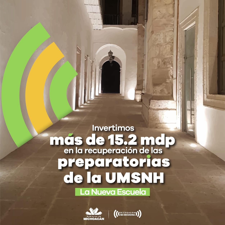Invierte Gobierno del Estado más de 15.2 mdp en infraestructura para las preparatorias de la UMSNH