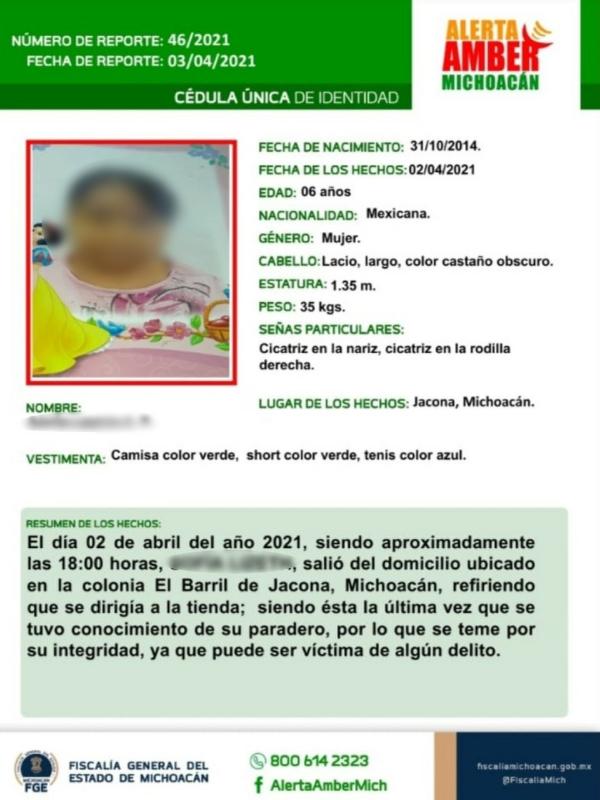 Hallan sin vida a niña reportada como desaparecida en Jacona