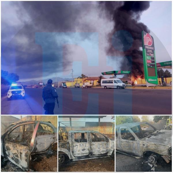 Con bombas molotov delincuentes incendian gasolinera y taller en Tarecuato