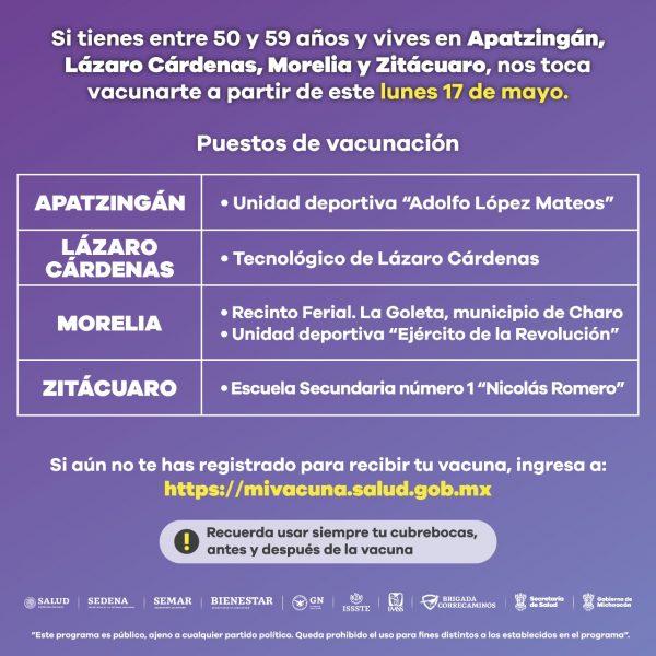 Inicia este lunes vacunación contra COVID-19 a personas de 50 a 59 años en 4 municipios más