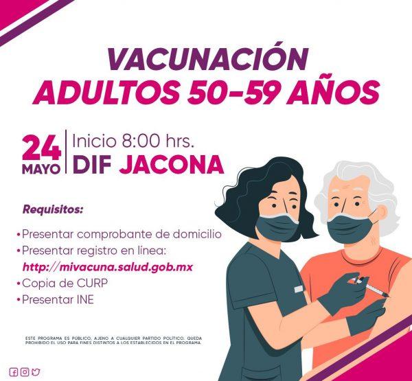 Anuncia Jacona inicio de vacunación anticovid a personas de 50 a 59 años
