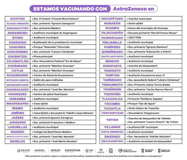 Arranca vacunación anti COVID-19 para personas de 40 a 49 años en Tarímbaro