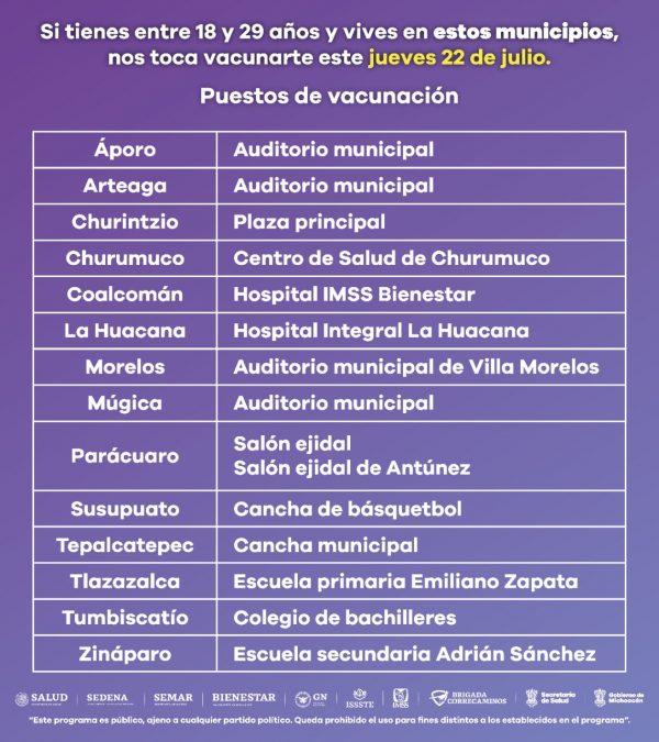 Inicia vacunación a población de entre 18 y 29 años de edad, en 14 municipios